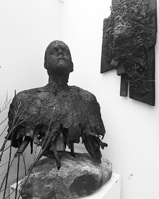 Adi Vesely-Shore - Symbioun Stone Sculpture. Materials used - Carbon Charcoal. Artwork is for sale.