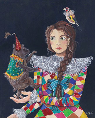 Emily C Woodard - The Little Entertainer. Oil painting on wood panel. This artwork is for sale.
