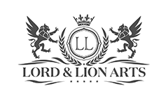 Lord and Lion Arts logo grey on white