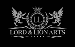 Lord and Lion Arts logo silver on black