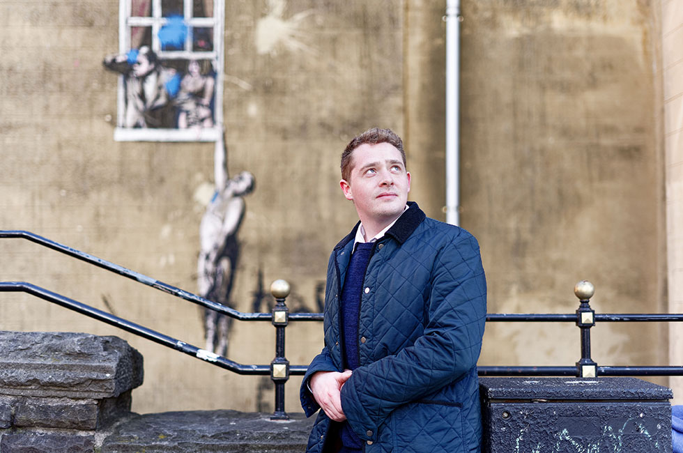 Portrait of Mark Slowey, art curator and broker for Lord and Lion Arts