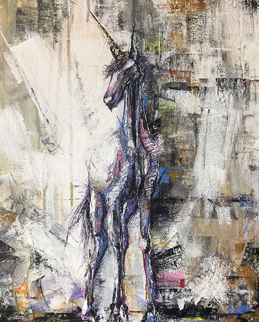 Nitael - The White Unicorn. Oil on canvas. 50 x 40 cm. This artwork is for sale.