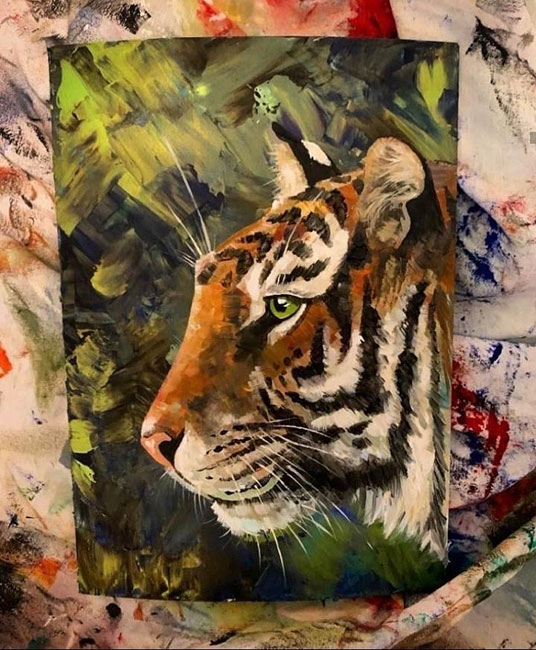 Alice Sims - Tigress, acrylic on canvas, 30 x 21 cm