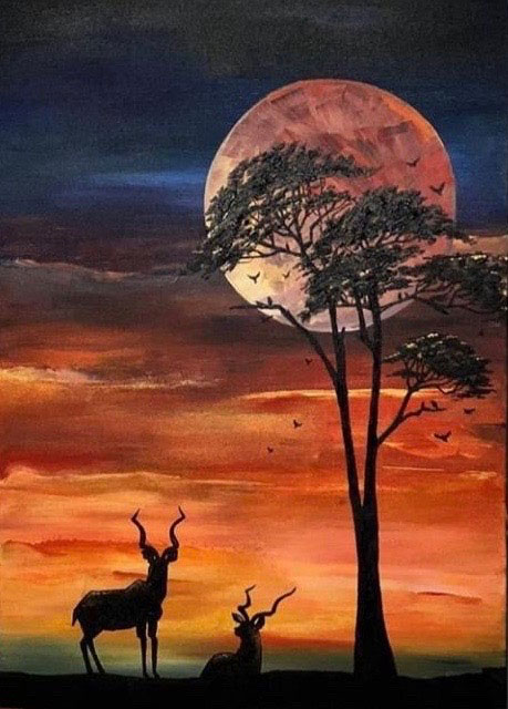 Alice Sims - Moonlit Kudus, acrylic on canvas, 70 x 40 cm