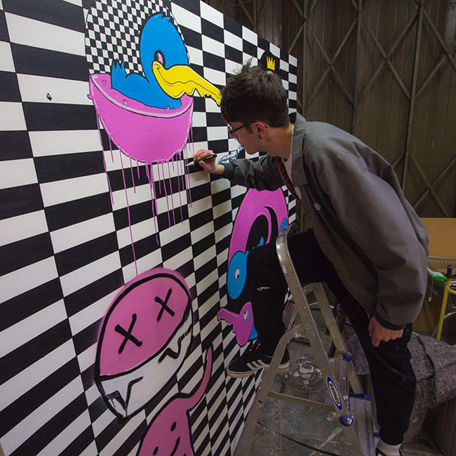 The making of Spike Island - spray cans, markers, ink, 200 x 200 cm